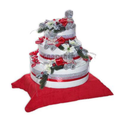 Textilní dort vánoční dekorace Míša